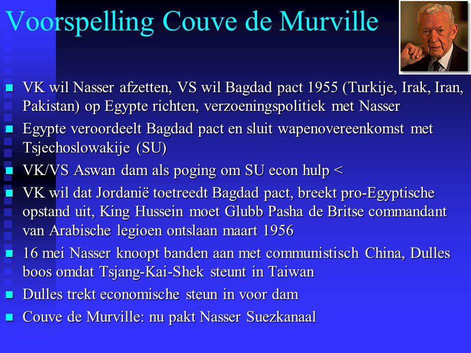 Voorspelling Couve de Murville VK wil Nasser afzetten, VS wil Bagdad pact 1955 (Turkije, Irak, Iran, Pakistan) op Egypte richten, verzoeningspolitiek
