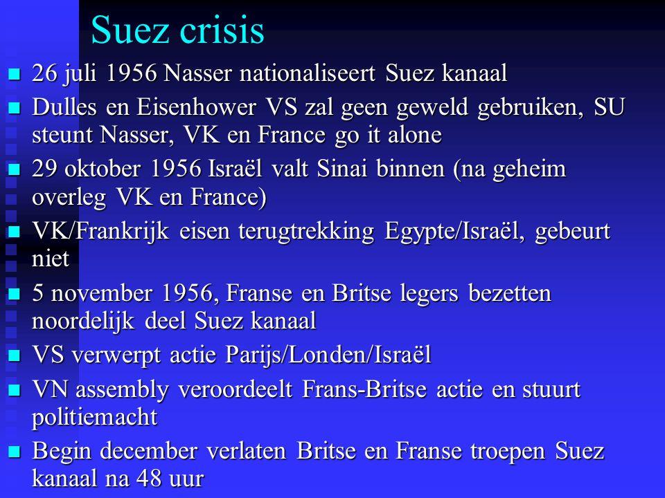Suez crisis 26 juli 1956 Nasser nationaliseert Suez kanaal 26 juli 1956 Nasser nationaliseert Suez kanaal Dulles en Eisenhower VS zal geen geweld gebruiken, SU steunt Nasser, VK en France go it alone Dulles en Eisenhower VS zal geen geweld gebruiken, SU steunt Nasser, VK en France go it alone 29 oktober 1956 Israël valt Sinai binnen (na geheim overleg VK en France) 29 oktober 1956 Israël valt Sinai binnen (na geheim overleg VK en France) VK/Frankrijk eisen terugtrekking Egypte/Israël, gebeurt niet VK/Frankrijk eisen terugtrekking Egypte/Israël, gebeurt niet 5 november 1956, Franse en Britse legers bezetten noordelijk deel Suez kanaal 5 november 1956, Franse en Britse legers bezetten noordelijk deel Suez kanaal VS verwerpt actie Parijs/Londen/Israël VS verwerpt actie Parijs/Londen/Israël VN assembly veroordeelt Frans-Britse actie en stuurt politiemacht VN assembly veroordeelt Frans-Britse actie en stuurt politiemacht Begin december verlaten Britse en Franse troepen Suez kanaal na 48 uur Begin december verlaten Britse en Franse troepen Suez kanaal na 48 uur