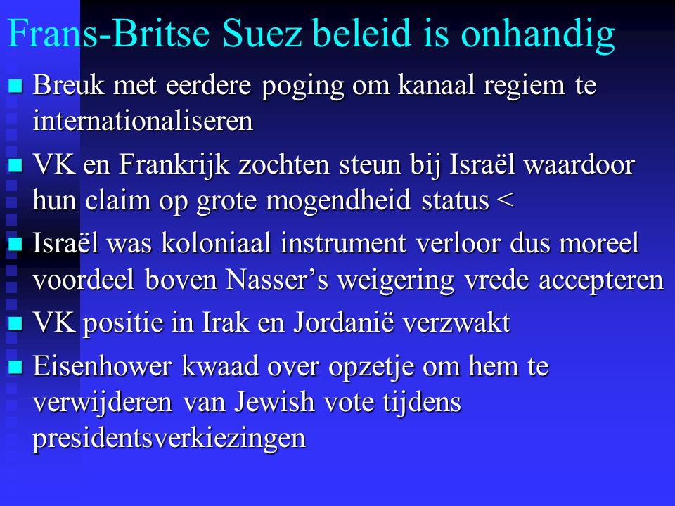 Frans-Britse Suez beleid is onhandig Breuk met eerdere poging om kanaal regiem te internationaliseren Breuk met eerdere poging om kanaal regiem te internationaliseren VK en Frankrijk zochten steun bij Israël waardoor hun claim op grote mogendheid status < VK en Frankrijk zochten steun bij Israël waardoor hun claim op grote mogendheid status < Israël was koloniaal instrument verloor dus moreel voordeel boven Nasser's weigering vrede accepteren Israël was koloniaal instrument verloor dus moreel voordeel boven Nasser's weigering vrede accepteren VK positie in Irak en Jordanië verzwakt VK positie in Irak en Jordanië verzwakt Eisenhower kwaad over opzetje om hem te verwijderen van Jewish vote tijdens presidentsverkiezingen Eisenhower kwaad over opzetje om hem te verwijderen van Jewish vote tijdens presidentsverkiezingen