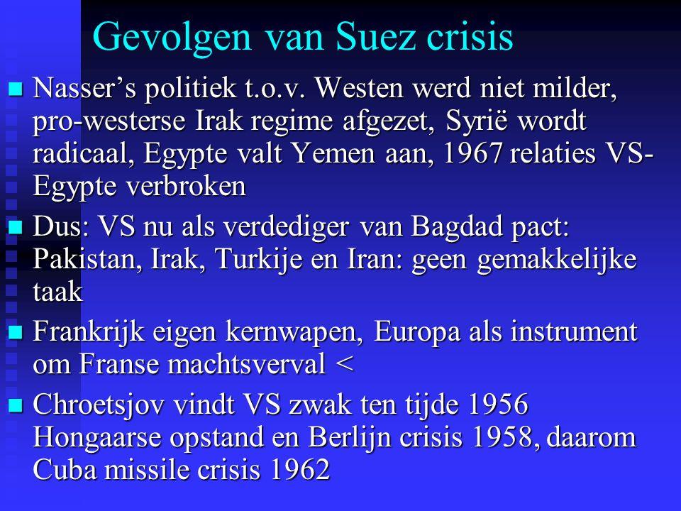 Gevolgen van Suez crisis Nasser's politiek t.o.v. Westen werd niet milder, pro-westerse Irak regime afgezet, Syrië wordt radicaal, Egypte valt Yemen a