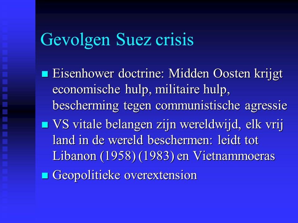 Gevolgen Suez crisis Eisenhower doctrine: Midden Oosten krijgt economische hulp, militaire hulp, bescherming tegen communistische agressie Eisenhower