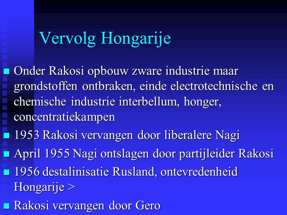 Vervolg Hongarije Onder Rakosi opbouw zware industrie maar grondstoffen ontbraken, einde electrotechnische en chemische industrie interbellum, honger,