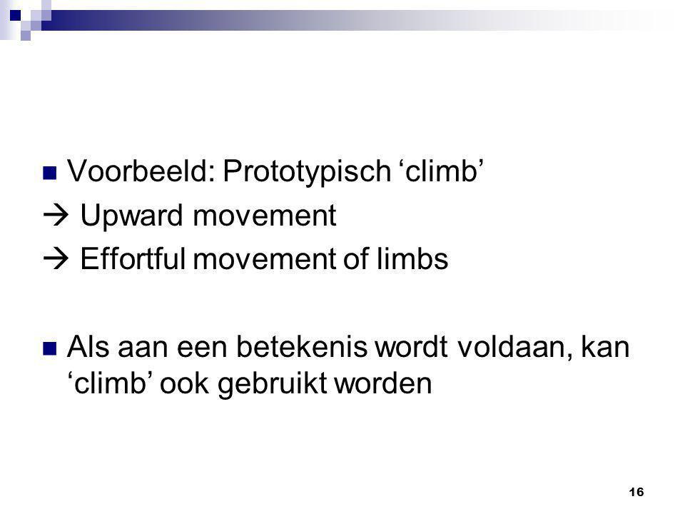 16 Voorbeeld: Prototypisch 'climb'  Upward movement  Effortful movement of limbs Als aan een betekenis wordt voldaan, kan 'climb' ook gebruikt worde
