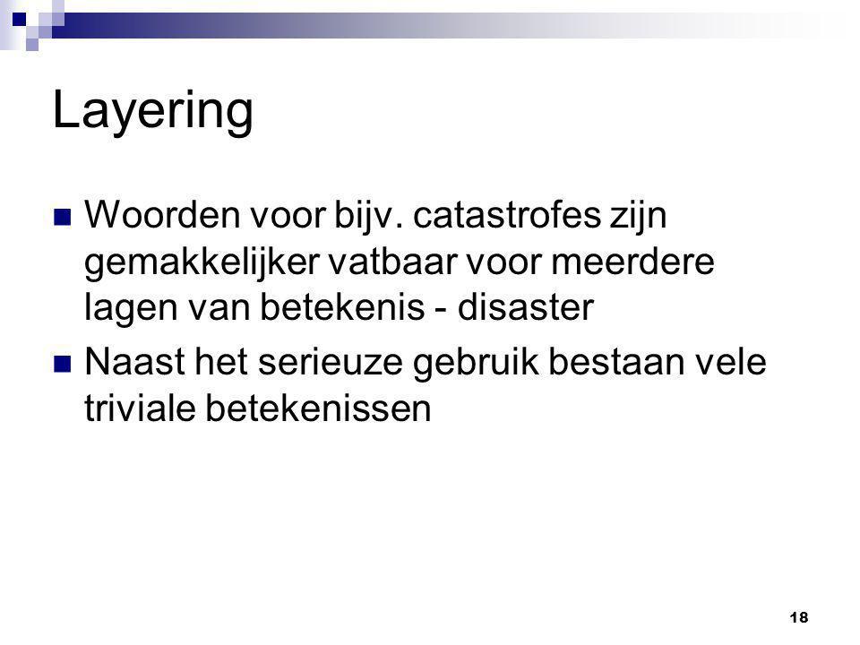 18 Layering Woorden voor bijv. catastrofes zijn gemakkelijker vatbaar voor meerdere lagen van betekenis - disaster Naast het serieuze gebruik bestaan