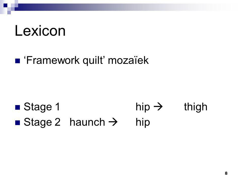 8 Lexicon 'Framework quilt' mozaïek Stage 1hip  thigh Stage 2 haunch  hip