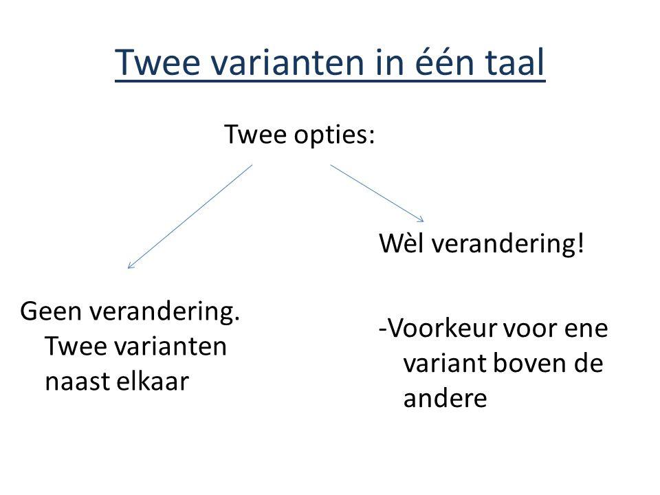 Twee varianten in één taal Geen verandering. Twee varianten naast elkaar Twee opties: Wèl verandering! -Voorkeur voor ene variant boven de andere