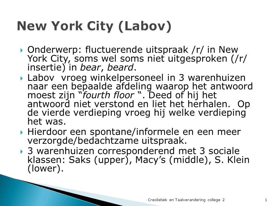  Onderwerp: fluctuerende uitspraak /r/ in New York City, soms wel soms niet uitgesproken (/r/ insertie) in bear, beard.
