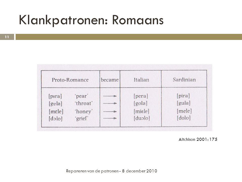 Klankpatronen: Romaans Repareren van de patronen - 8 december 2010 11 Aitchison 2001: 175