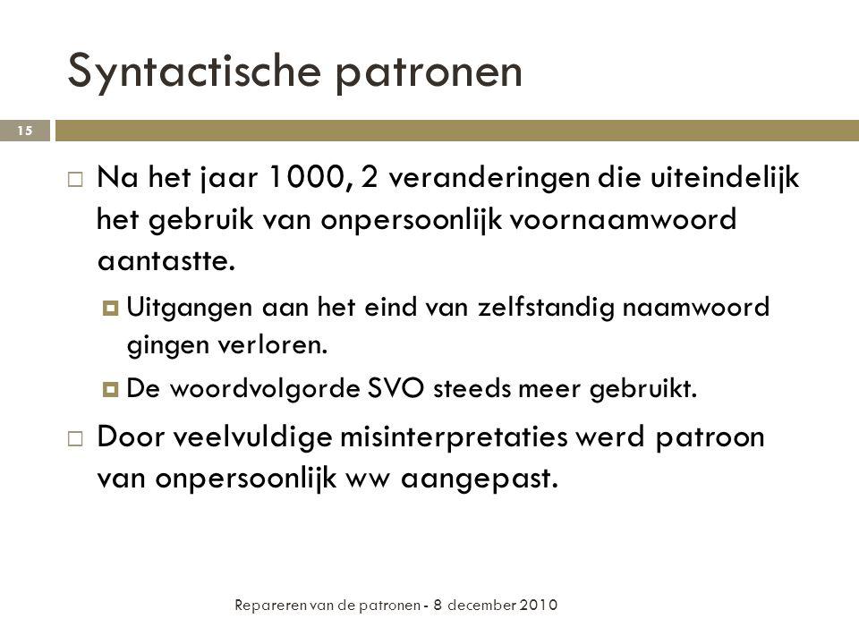 Syntactische patronen  Na het jaar 1000, 2 veranderingen die uiteindelijk het gebruik van onpersoonlijk voornaamwoord aantastte.