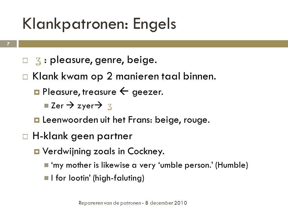 Klankpatronen: Engels  Front vowels > back vowels  Hoge > Lage Repareren van de patronen - 8 december 2010 8 Aitchison 2001: 173