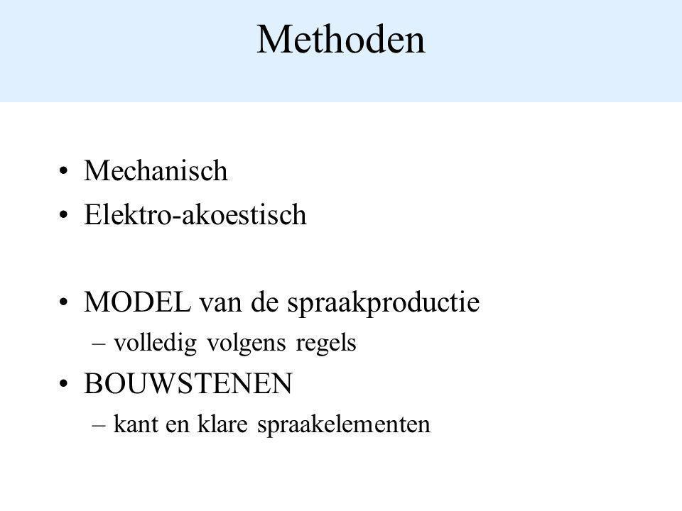 Methoden Mechanisch Elektro-akoestisch MODEL van de spraakproductie –volledig volgens regels BOUWSTENEN –kant en klare spraakelementen