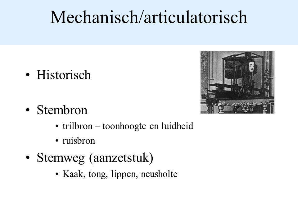 Mechanisch/articulatorisch Historisch Stembron trilbron – toonhoogte en luidheid ruisbron Stemweg (aanzetstuk) Kaak, tong, lippen, neusholte