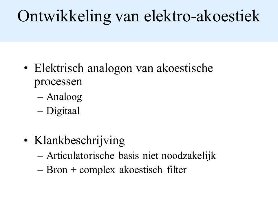 Ontwikkeling van elektro-akoestiek Elektrisch analogon van akoestische processen –Analoog –Digitaal Klankbeschrijving –Articulatorische basis niet noo