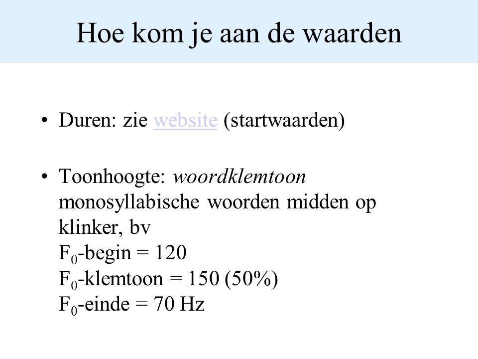 Hoe kom je aan de waarden Duren: zie website (startwaarden)website Toonhoogte: woordklemtoon monosyllabische woorden midden op klinker, bv F 0 -begin
