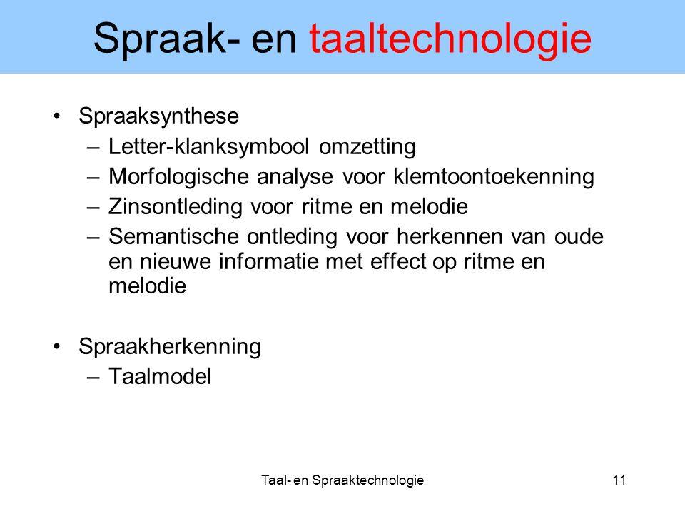Taal- en Spraaktechnologie11 Spraak- en taaltechnologie Spraaksynthese –Letter-klanksymbool omzetting –Morfologische analyse voor klemtoontoekenning –