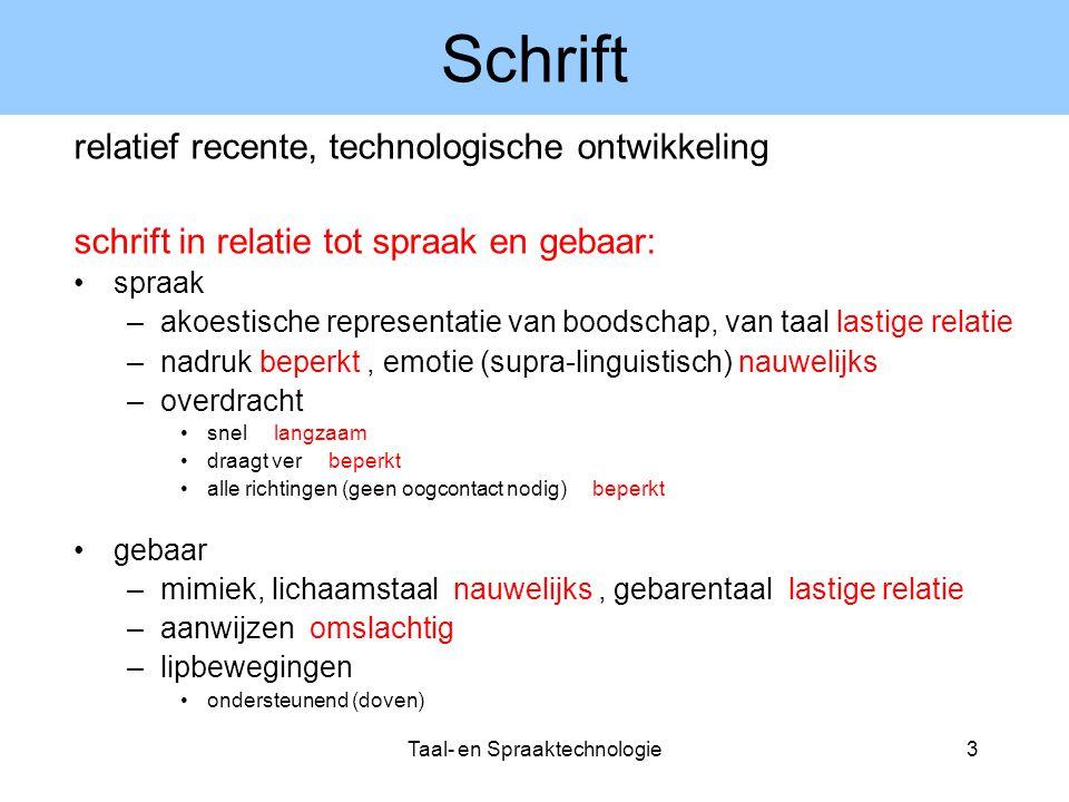 Taal- en Spraaktechnologie4 Spreken en begrijpen taal moet zo geproduceerd worden dat ze begrepen kan worden.