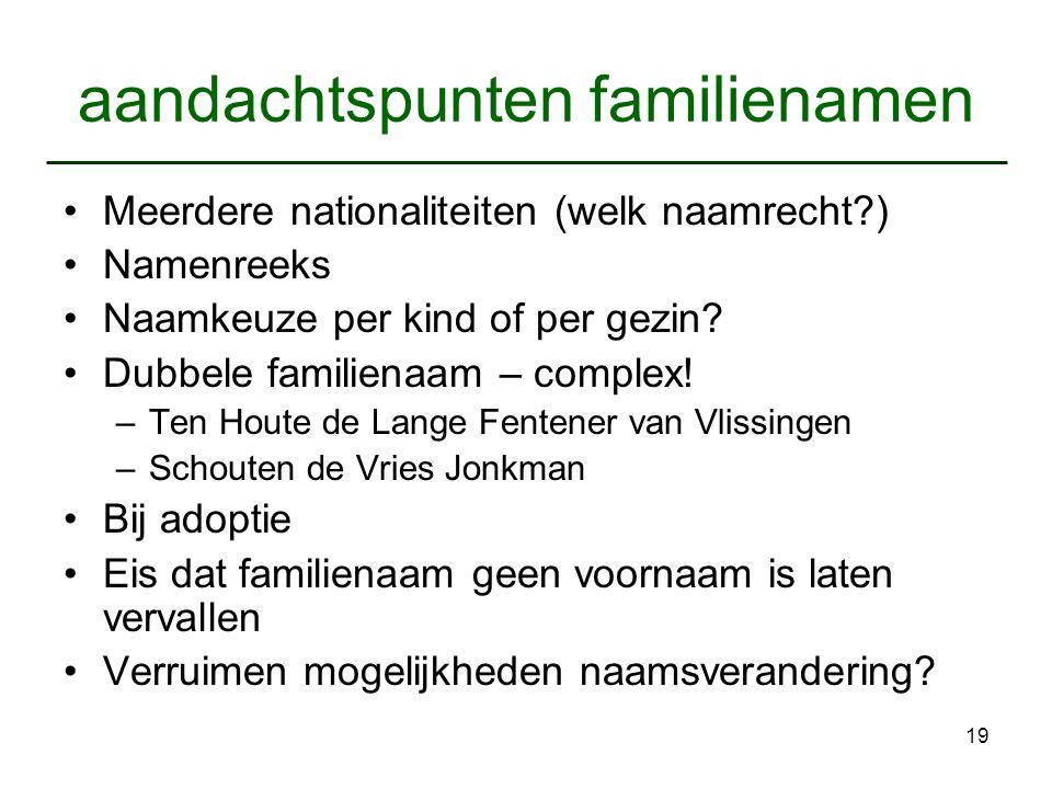 19 aandachtspunten familienamen Meerdere nationaliteiten (welk naamrecht?) Namenreeks Naamkeuze per kind of per gezin? Dubbele familienaam – complex!