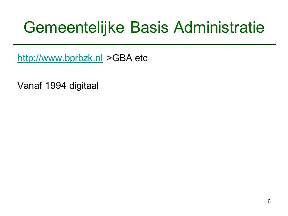 6 Gemeentelijke Basis Administratie http://www.bprbzk.nlhttp://www.bprbzk.nl >GBA etc Vanaf 1994 digitaal