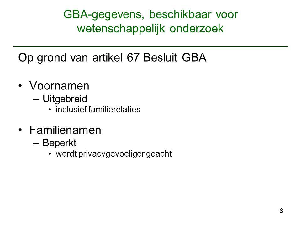 8 GBA-gegevens, beschikbaar voor wetenschappelijk onderzoek Op grond van artikel 67 Besluit GBA Voornamen –Uitgebreid inclusief familierelaties Famili