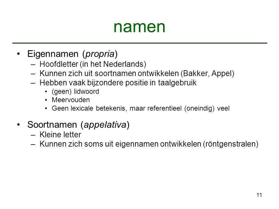 11 namen Eigennamen (propria) –Hoofdletter (in het Nederlands) –Kunnen zich uit soortnamen ontwikkelen (Bakker, Appel) –Hebben vaak bijzondere positie