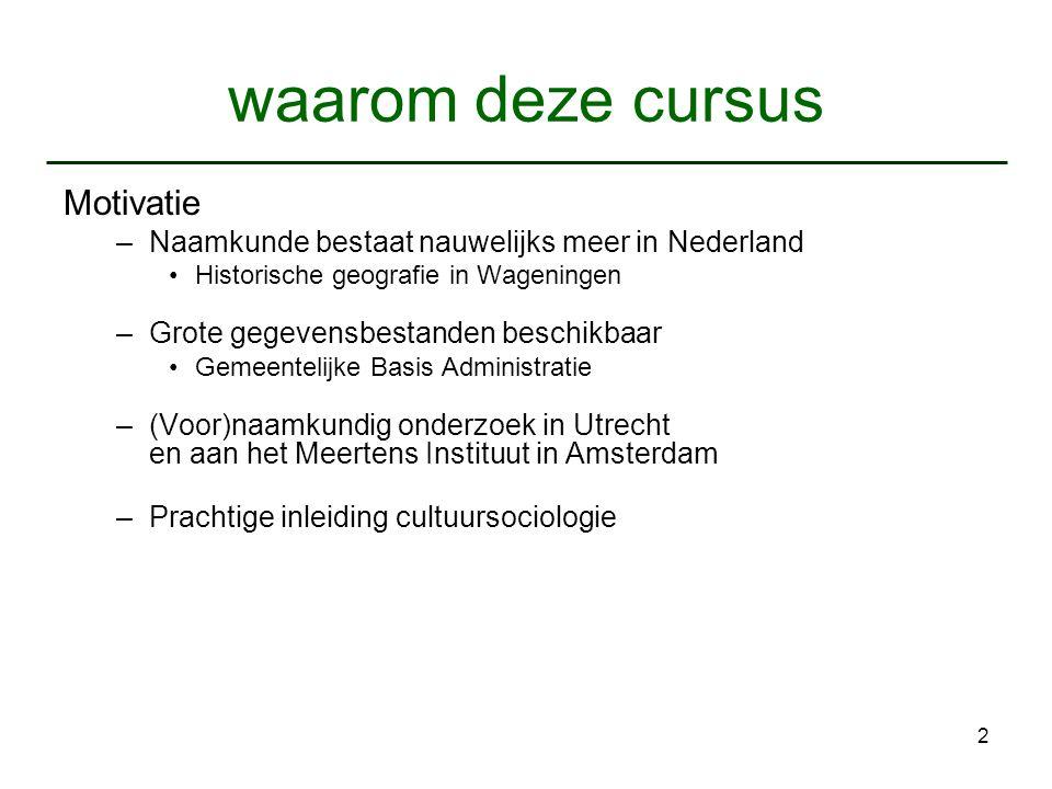 2 waarom deze cursus Motivatie –Naamkunde bestaat nauwelijks meer in Nederland Historische geografie in Wageningen –Grote gegevensbestanden beschikbaa