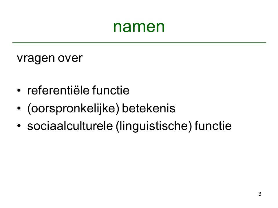 3 namen vragen over referentiële functie (oorspronkelijke) betekenis sociaalculturele (linguistische) functie