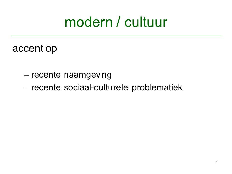 4 modern / cultuur accent op –recente naamgeving –recente sociaal-culturele problematiek
