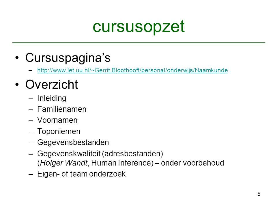 5 cursusopzet Cursuspagina's –http://www.let.uu.nl/~Gerrit.Bloothooft/personal/onderwijs/Naamkundehttp://www.let.uu.nl/~Gerrit.Bloothooft/personal/ond