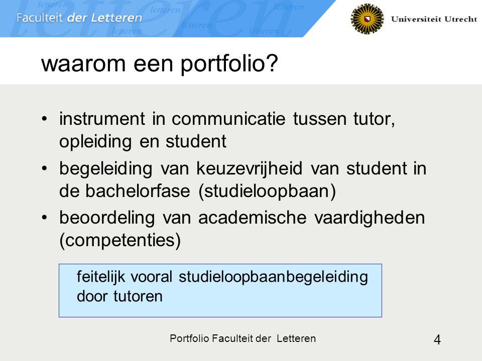 Portfolio Faculteit der Letteren 5 universitaire randvoorwaarden digitaal webgebaseerd uitwisselbaar met andere faculteiten op CD-ROM mee te nemen Letteren: door iedereen (studenten en tutoren) eenvoudig te gebruiken