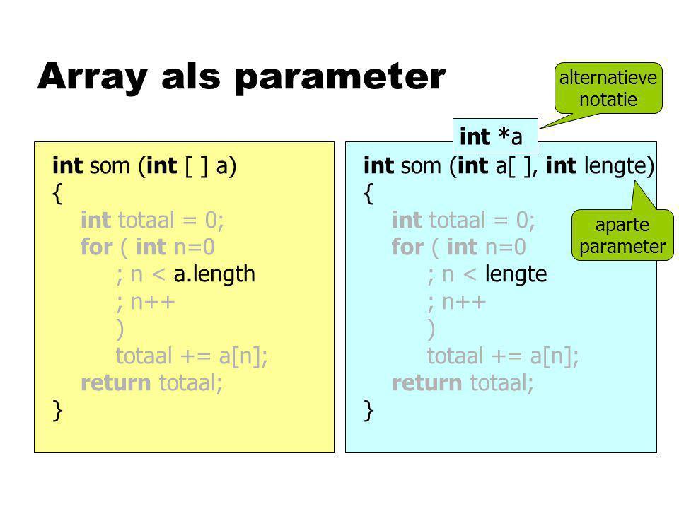 Array als parameter int som (int [ ] a) { int totaal = 0; for ( int n=0 ; n < a.length ; n++ ) totaal += a[n]; return totaal; } int som (int a[ ], int lengte) { int totaal = 0; for ( int n=0 ; n < lengte ; n++ ) totaal += a[n]; return totaal; } int *a aparte parameter alternatieve notatie