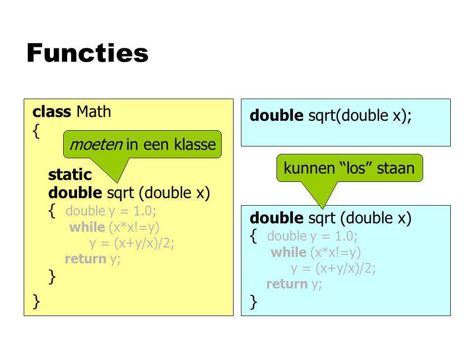 Functies double sqrt (double x) { double y = 1.0; while (x*x!=y) y = (x+y/x)/2; return y; } double sqrt(double x); static double sqrt (double x) { double y = 1.0; while (x*x!=y) y = (x+y/x)/2; return y; } kunnen los staan moeten in een klasse class Math { }