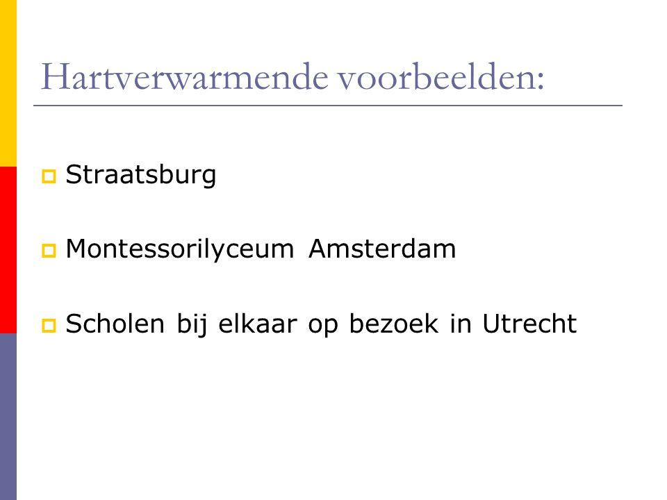 Hartverwarmende voorbeelden:  Straatsburg  Montessorilyceum Amsterdam  Scholen bij elkaar op bezoek in Utrecht
