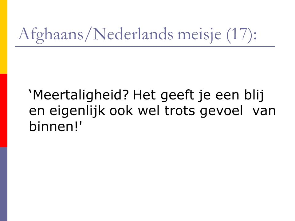 Afghaans/Nederlands meisje (17): 'Meertaligheid.