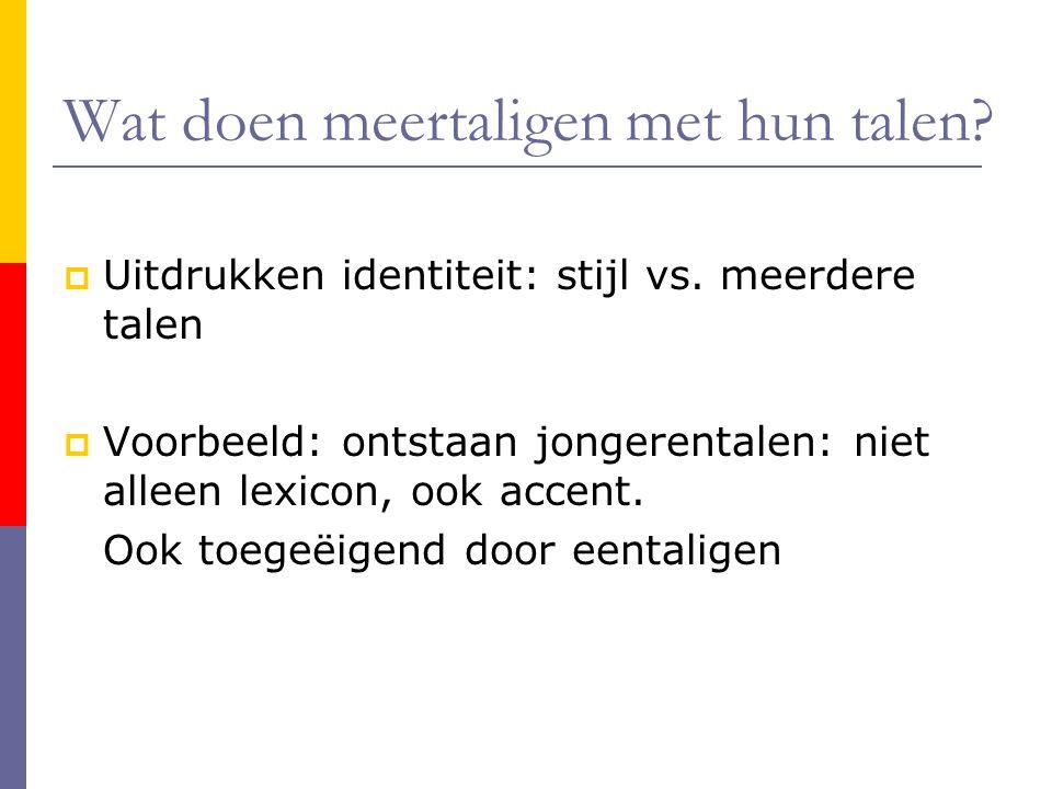 Wat doen meertaligen met hun talen?  Uitdrukken identiteit: stijl vs. meerdere talen  Voorbeeld: ontstaan jongerentalen: niet alleen lexicon, ook ac