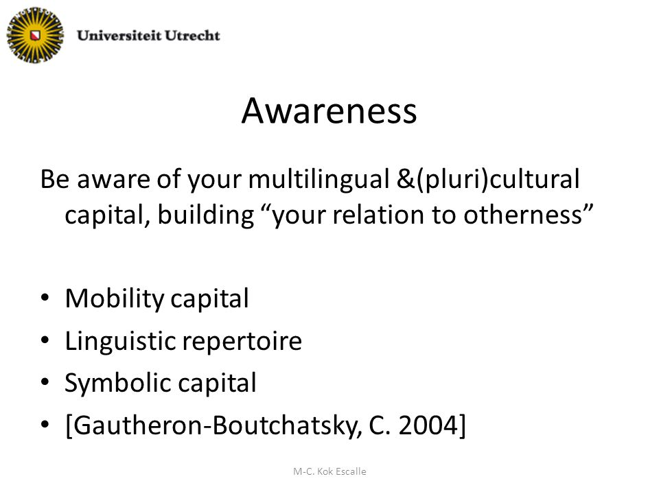 Awareness Be aware of your multilingual &(pluri)cultural capital, building your relation to otherness Mobility capital Linguistic repertoire Symbolic capital [Gautheron-Boutchatsky, C.