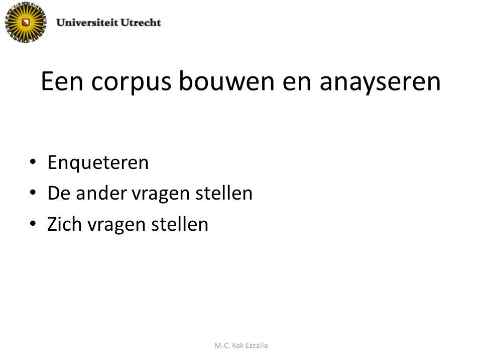 Een corpus bouwen en anayseren Enqueteren De ander vragen stellen Zich vragen stellen M-C. Kok Escalle