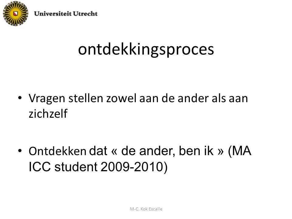 ontdekkingsproces Vragen stellen zowel aan de ander als aan zichzelf Ontdekken dat « de ander, ben ik » (MA ICC student 2009-2010) M-C. Kok Escalle