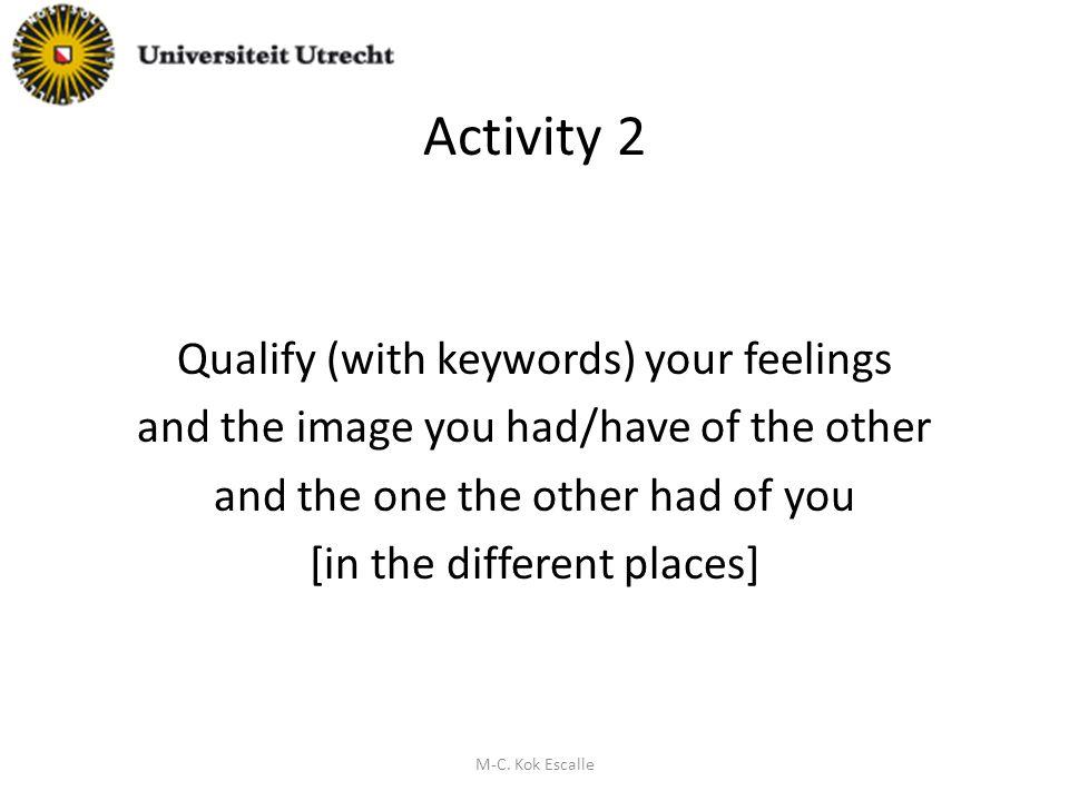 ontdekkingsproces Vragen stellen zowel aan de ander als aan zichzelf Ontdekken dat « de ander, ben ik » (MA ICC student 2009-2010) M-C.