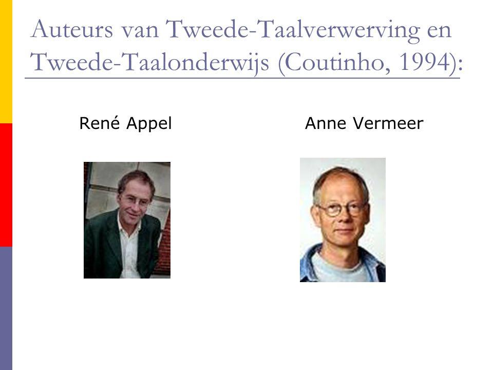 Auteurs van Tweede-Taalverwerving en Tweede-Taalonderwijs (Coutinho, 1994): René AppelAnne Vermeer
