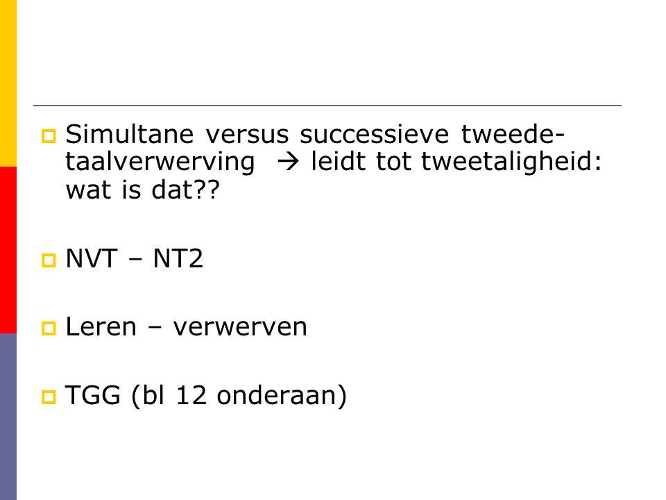  Simultane versus successieve tweede- taalverwerving  leidt tot tweetaligheid: wat is dat?.