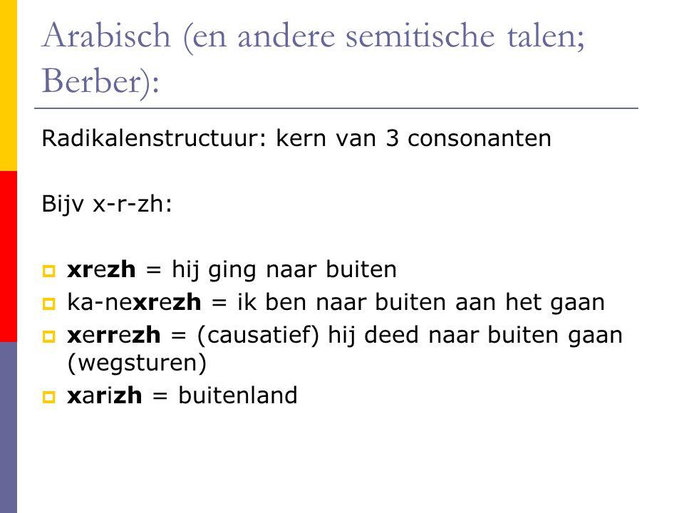Arabisch (en andere semitische talen; Berber): Radikalenstructuur: kern van 3 consonanten Bijv x-r-zh:  xrezh = hij ging naar buiten  ka-nexrezh = ik ben naar buiten aan het gaan  xerrezh = (causatief) hij deed naar buiten gaan (wegsturen)  xarizh = buitenland
