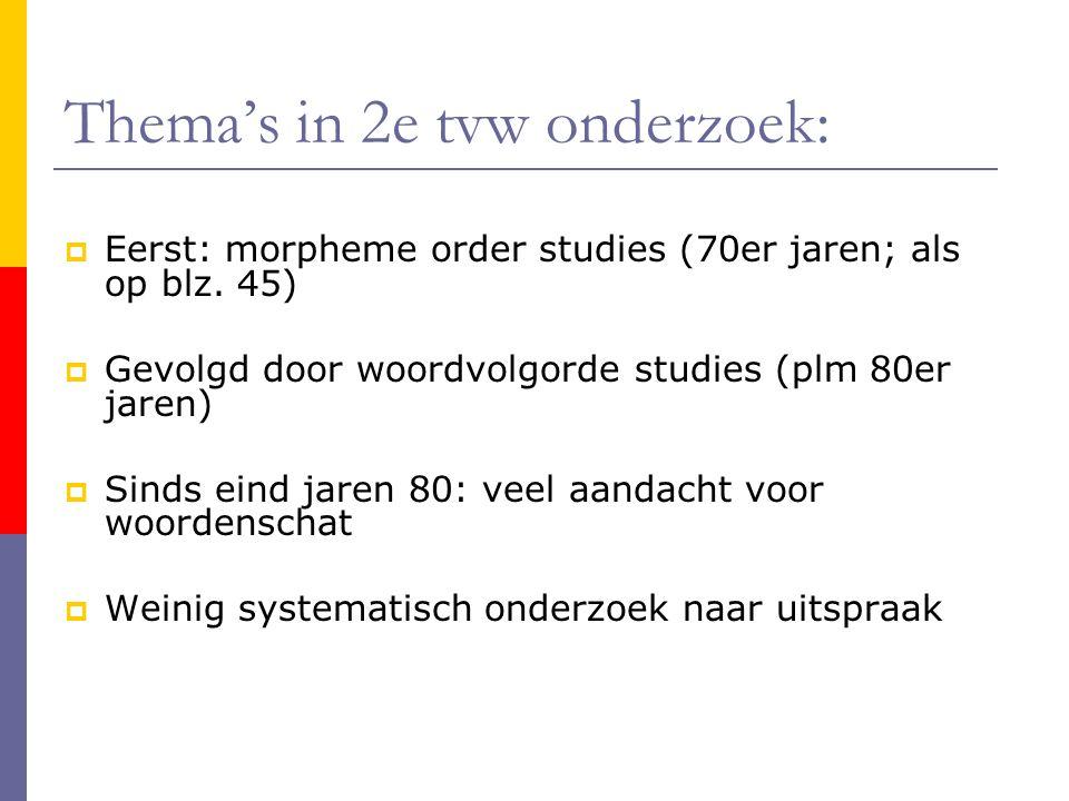 Thema's in 2e tvw onderzoek:  Eerst: morpheme order studies (70er jaren; als op blz.