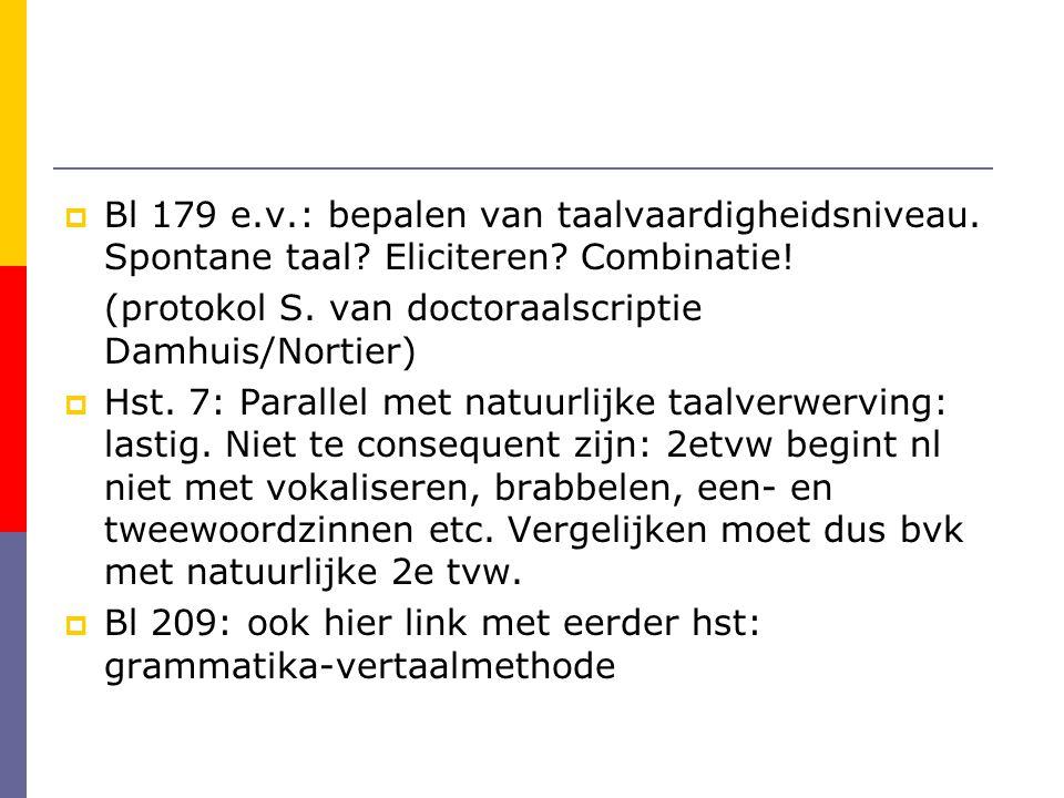  Bl 179 e.v.: bepalen van taalvaardigheidsniveau. Spontane taal? Eliciteren? Combinatie! (protokol S. van doctoraalscriptie Damhuis/Nortier)  Hst. 7