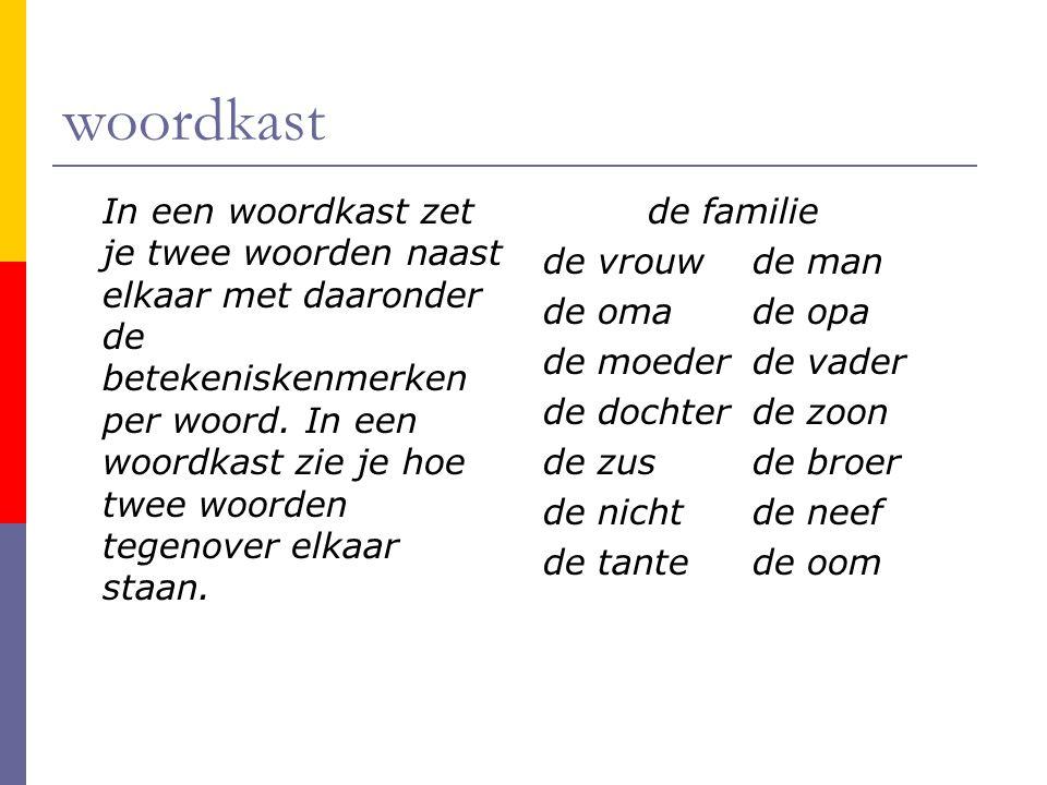 woordkast In een woordkast zet je twee woorden naast elkaar met daaronder de betekeniskenmerken per woord. In een woordkast zie je hoe twee woorden te
