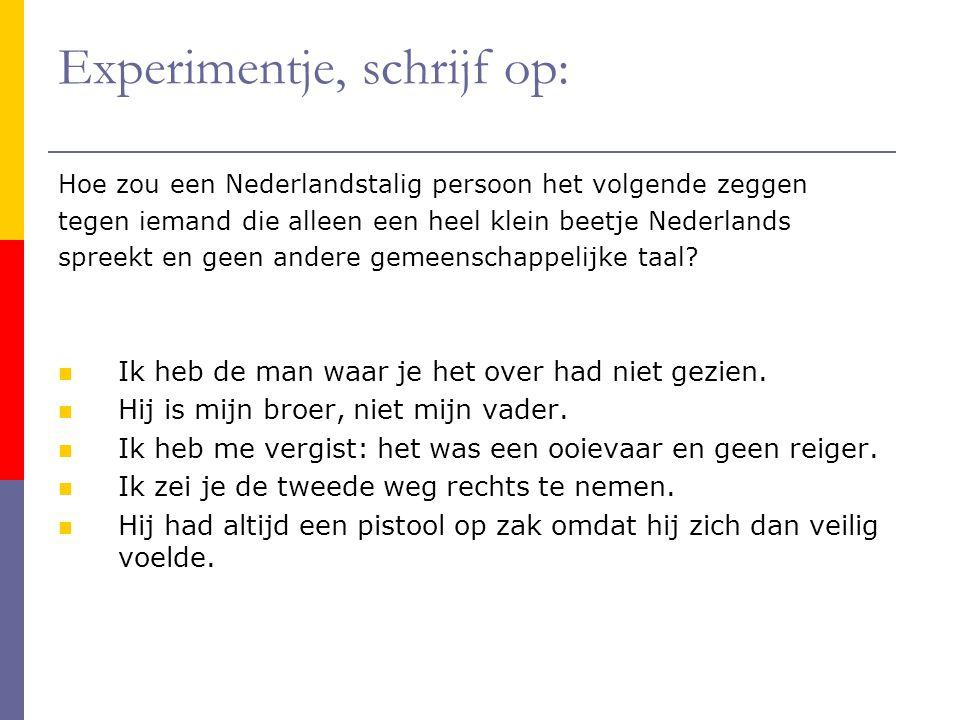 Experimentje, schrijf op: Hoe zou een Nederlandstalig persoon het volgende zeggen tegen iemand die alleen een heel klein beetje Nederlands spreekt en