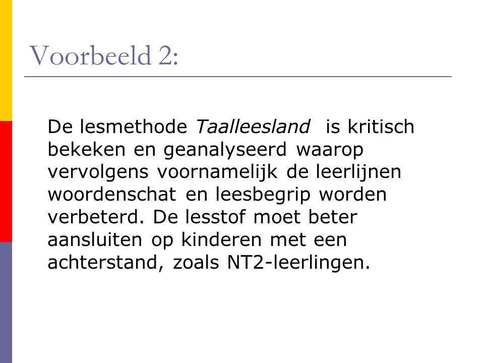 Voorbeeld 2: De lesmethode Taalleesland is kritisch bekeken en geanalyseerd waarop vervolgens voornamelijk de leerlijnen woordenschat en leesbegrip wo