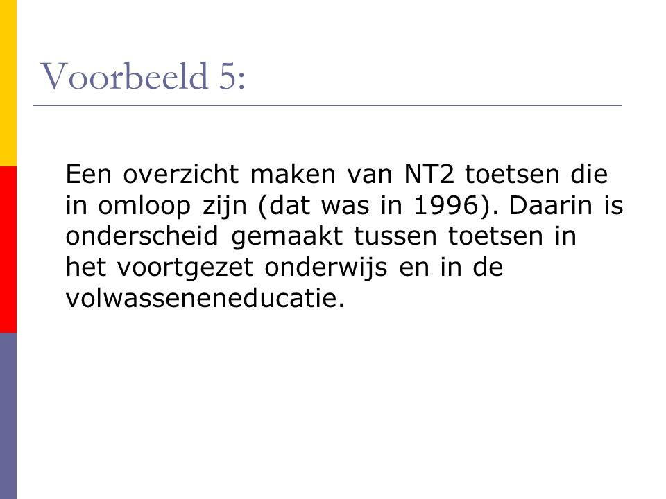 Voorbeeld 5: Een overzicht maken van NT2 toetsen die in omloop zijn (dat was in 1996). Daarin is onderscheid gemaakt tussen toetsen in het voortgezet