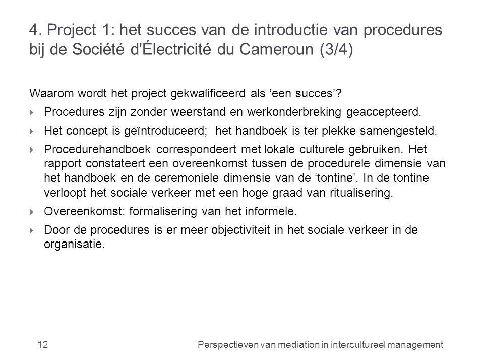 4. Project 1: het succes van de introductie van procedures bij de Société d'Électricité du Cameroun (3/4) Waarom wordt het project gekwalificeerd als