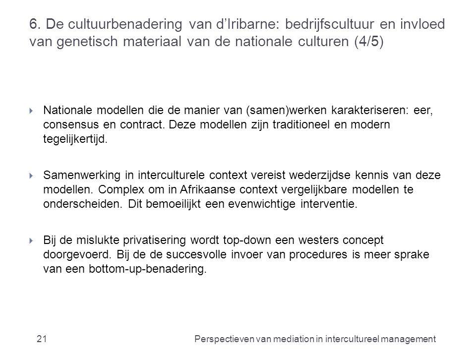 6. De cultuurbenadering van d'Iribarne: bedrijfscultuur en invloed van genetisch materiaal van de nationale culturen (4/5)  Nationale modellen die de