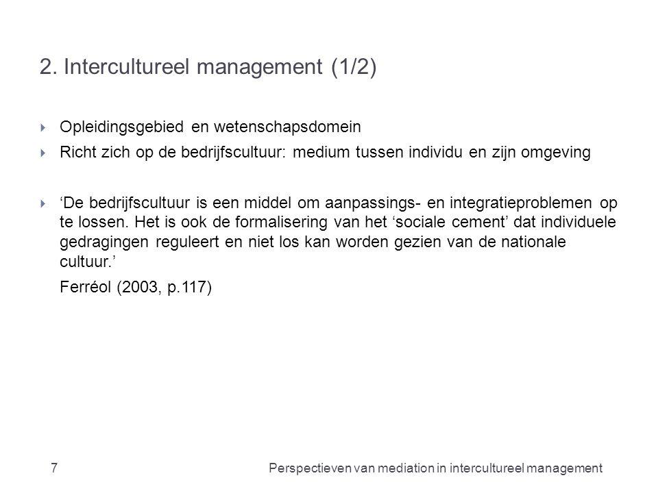 2. Intercultureel management (1/2)  Opleidingsgebied en wetenschapsdomein  Richt zich op de bedrijfscultuur: medium tussen individu en zijn omgeving